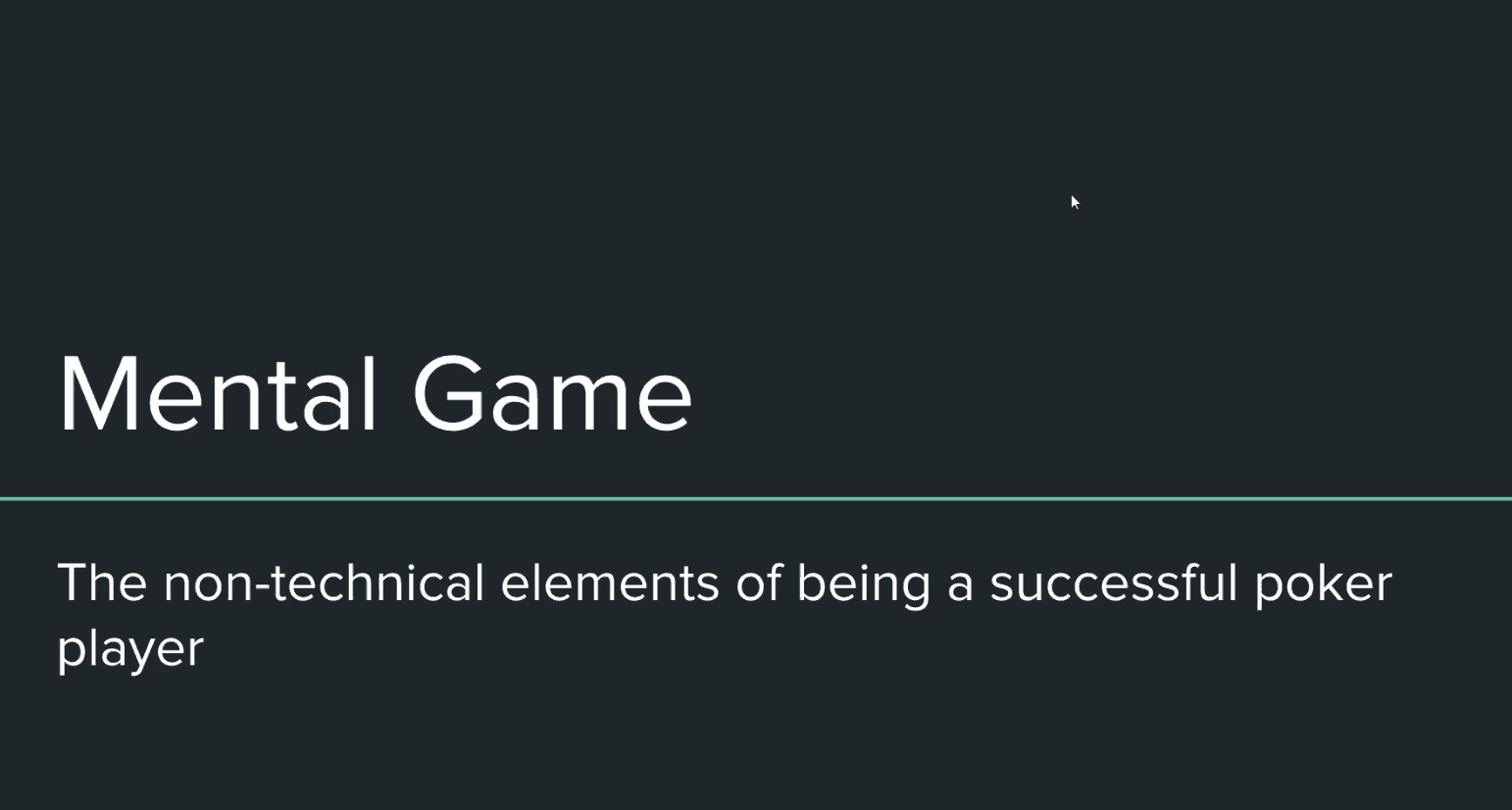 Introduction to Mental Game
